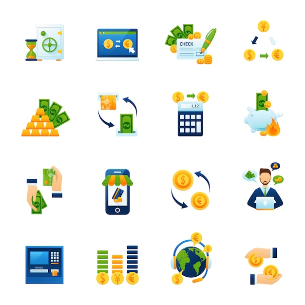 Currency exchange flat icons set Free Vector