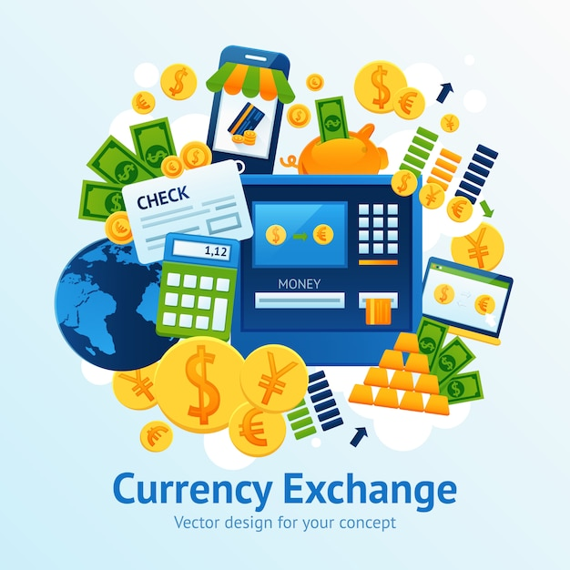 Currency exchange illustration Free Vector