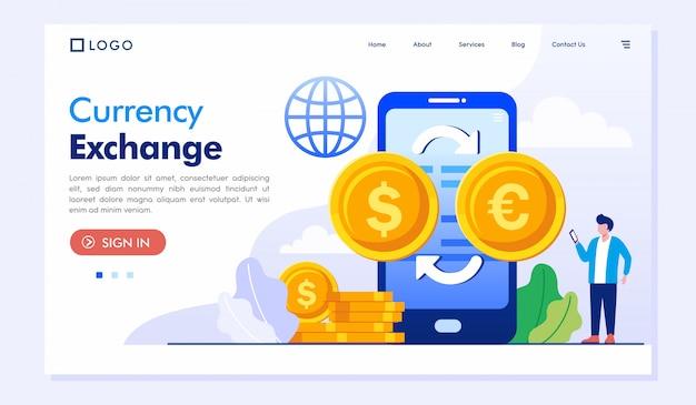 Обмен валюты landing page веб-сайт иллюстрация вектор шаблон Premium векторы