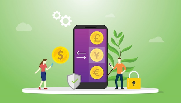 Currency exchange money concept with mobile smartphone apps with business technology investment Premium Vector