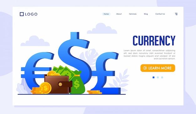 Currency landing page website template Premium Vector