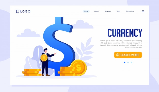 Currency landing page website template Premium Vector