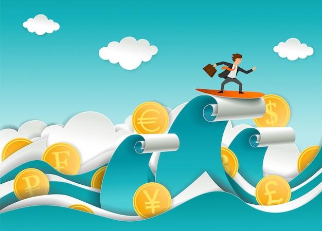Currency surfer  paper cut Premium Vector