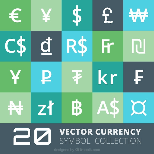 Currency symbols collection Free Vector