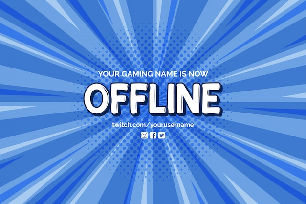 Currently offline banner with comic zoom background vector template Free Vector