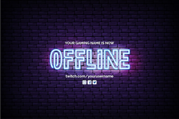 Currently offline twitch banner with neon design Free Vector