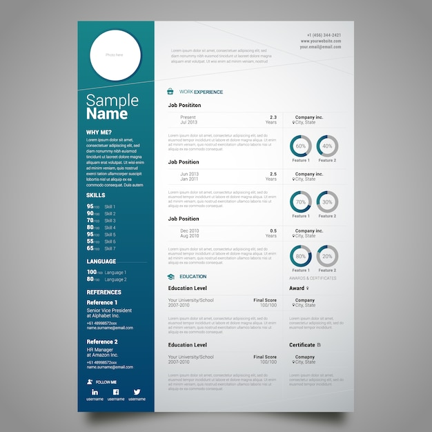 Custom Card Template template design : Curriculum template design Vector : Free Download
