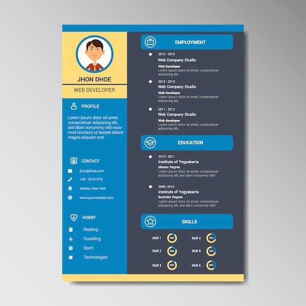 curriculum template design vector