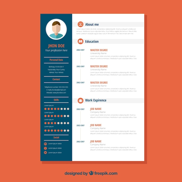 Download Vector Abstract Curriculum Template With Graphics