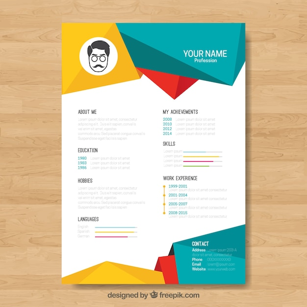 curriculum template with colorful geometric shapes vector