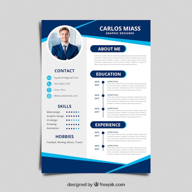 Curriculum template with flat design Free Vector