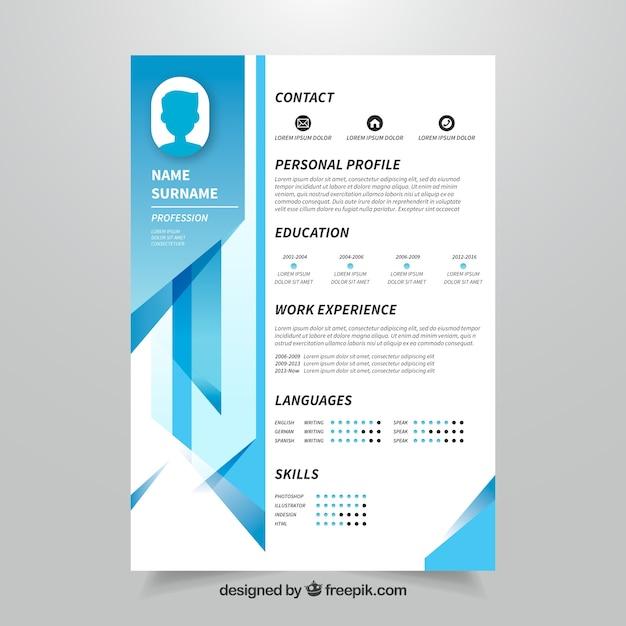 curriculum template with geometric design vector