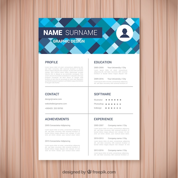 Curriculum template with modern geometric shapes