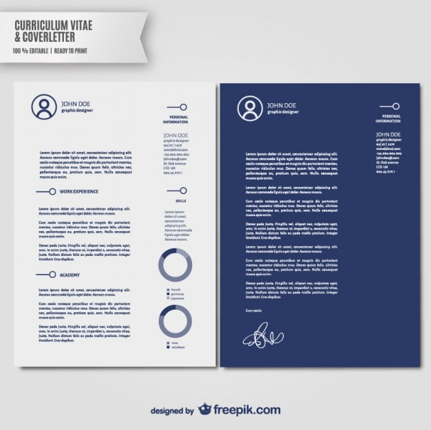 Curriculum Vitae And Cover Letter Template Vector Free Download