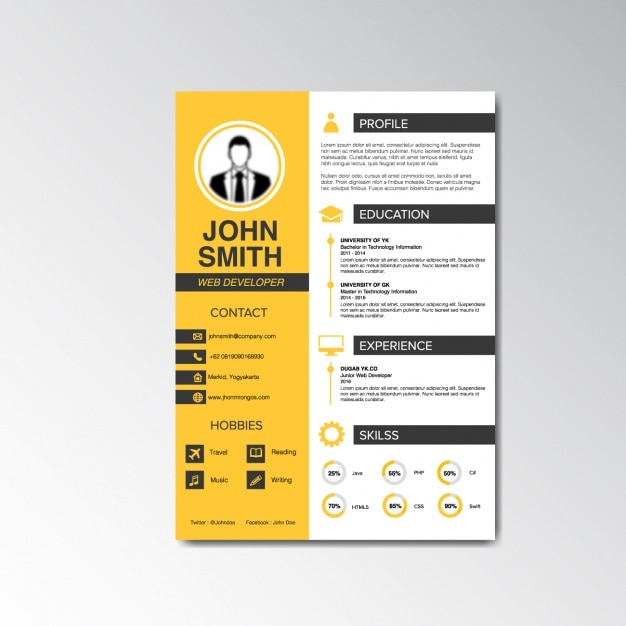 Unique Cv Template Curriculum Vitae Design Vector Free Download