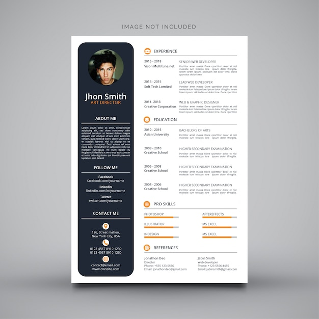 curriculum vitae design vector