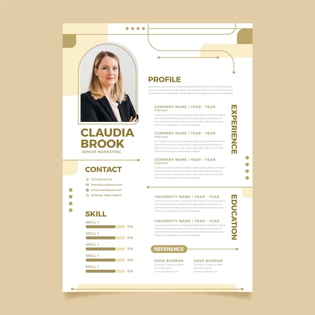 Curriculum vitae editorial template Premium Vector