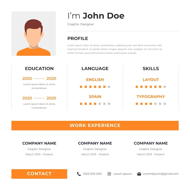Free Vector Curriculum Vitae Online With Character Avatar