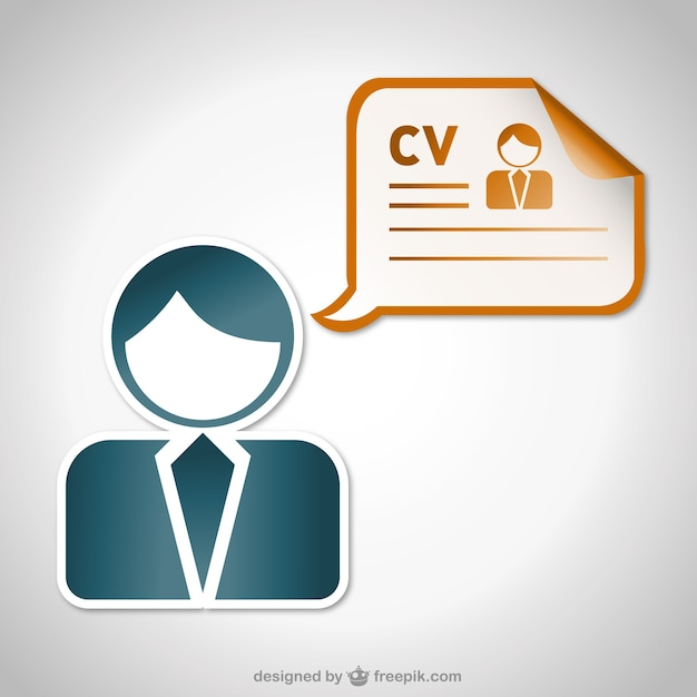 curriculum vitae sticker and man silhouette vector