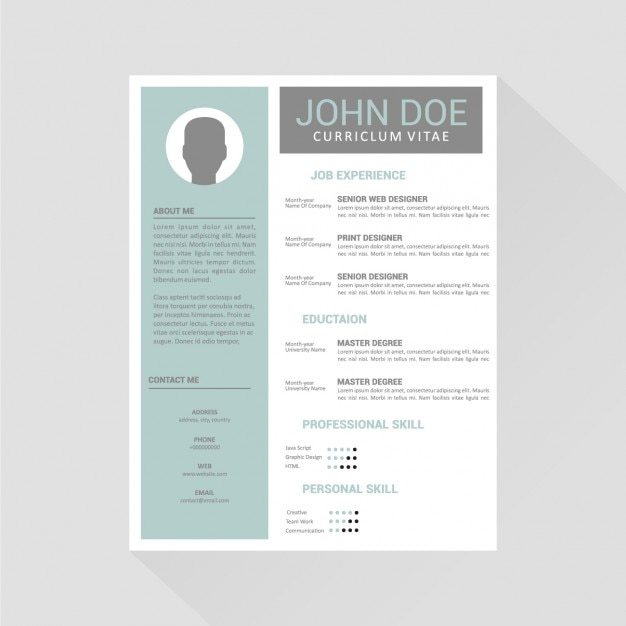 Curriculum Vitae Template Design Vector Free Download