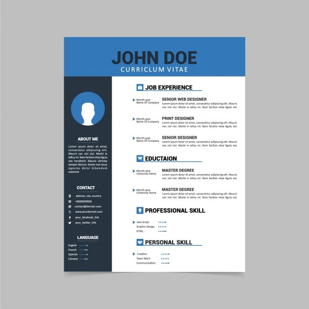 Curriculum vitae template design vector free download curriculum vitae template design free vector yelopaper Images