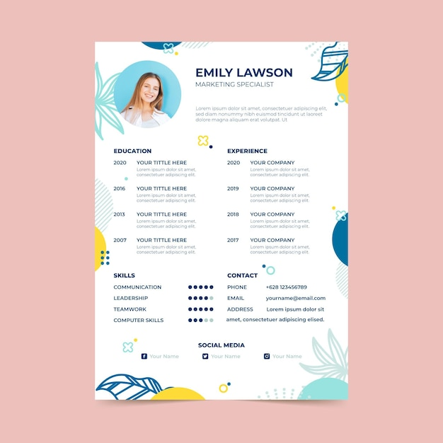 Curriculum vitae template with leaves Free Vector