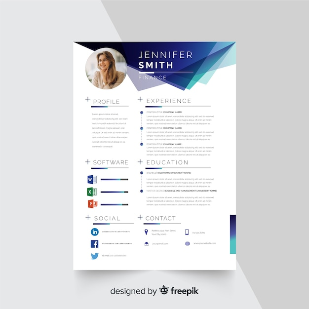 Curriculum Vitae Template With Photo Vector Free Download