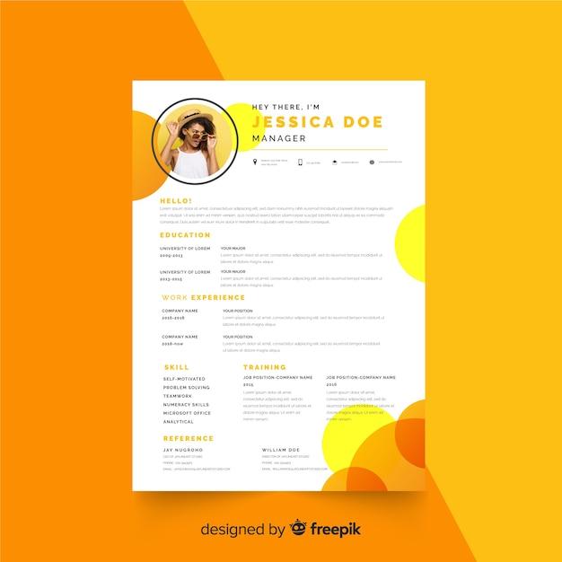 Curriculum vitae template with photo Premium Vector