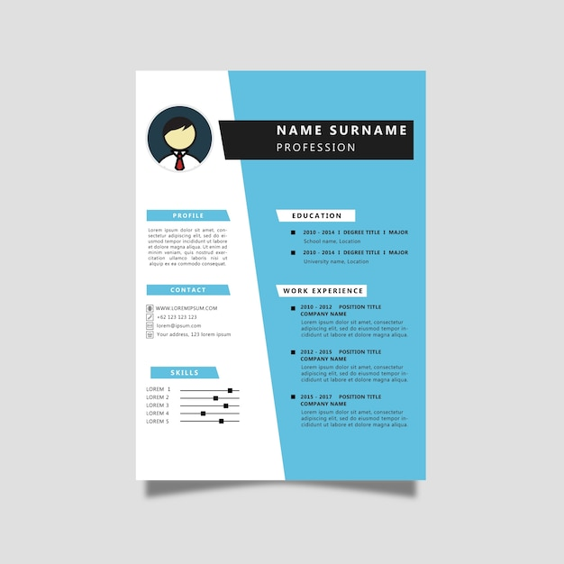 curriculum vitae with blue color vector
