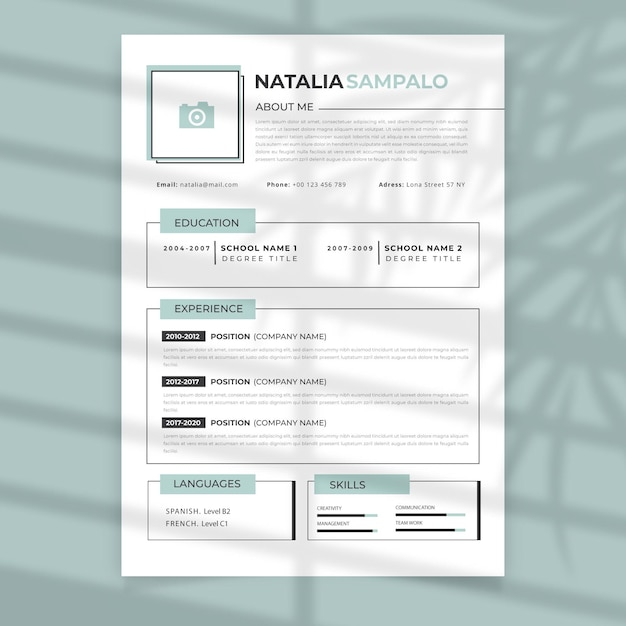 Curriculum vitae with frames template Free Vector