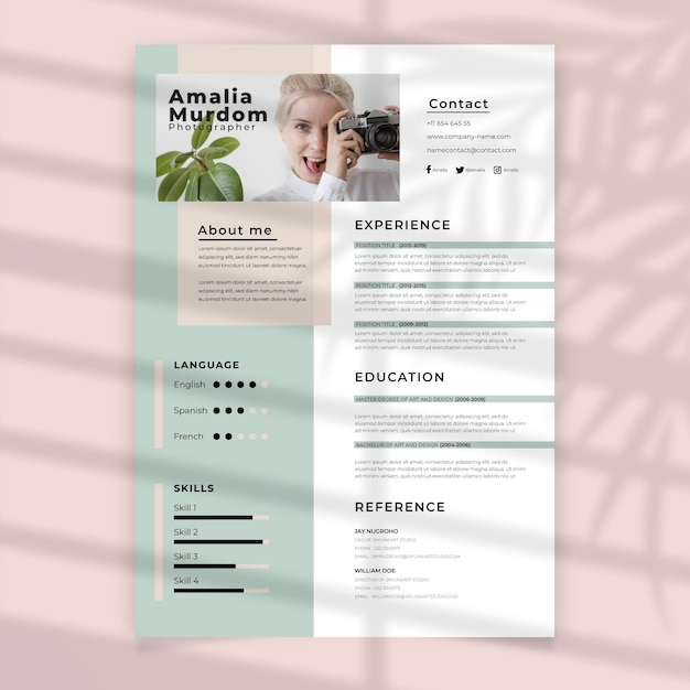 Curriculum vitae with photo template Free Vector