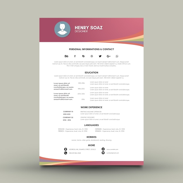 Curriculum with modern forms Free Vector