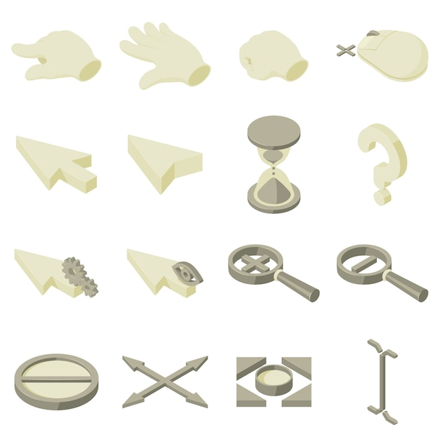 Cursor arrow hand icons set. isometric illustration of 16 cursor arrow hand vector icons for web Premium Vector