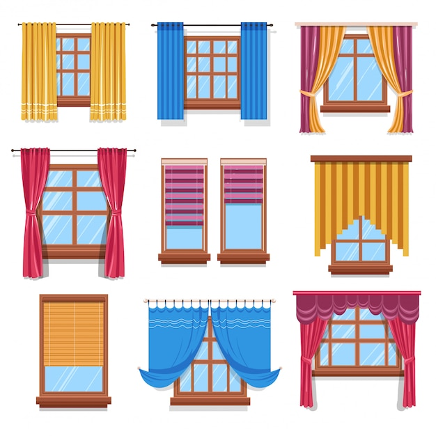 Curtain and blinders on windows, fabric and wood Premium Vector