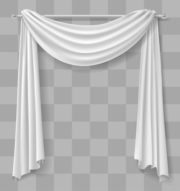 Curtain drapery for window white Premium Vector