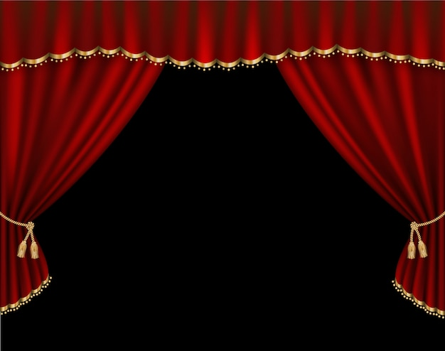 Curtain vector realistic illustration Premium Vector