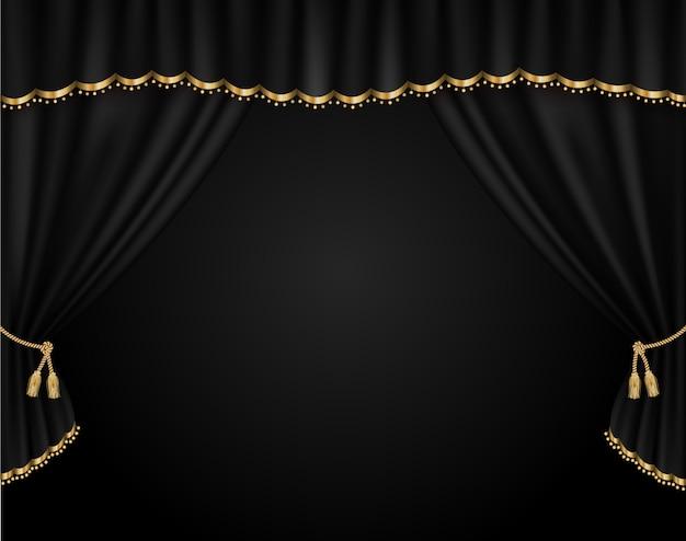 Curtain vector realistic illustration Premium Vector
