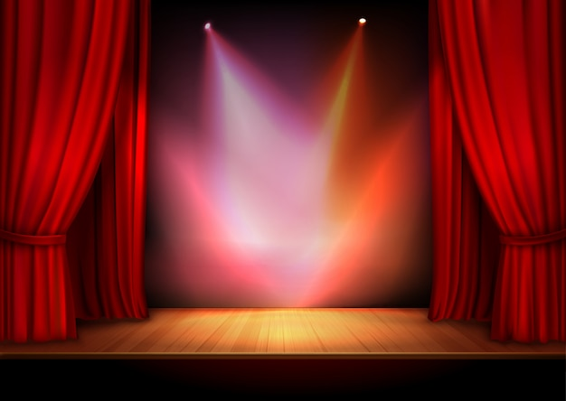 Curtain with lights Free Vector