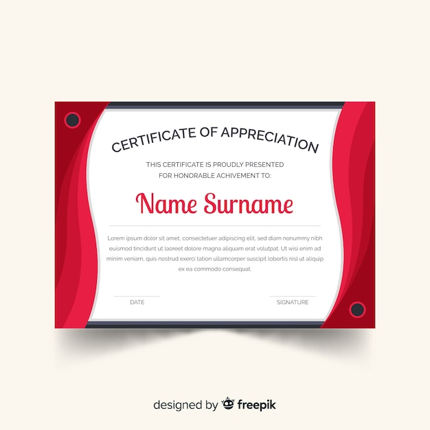 Curtains certificate template Free Vector