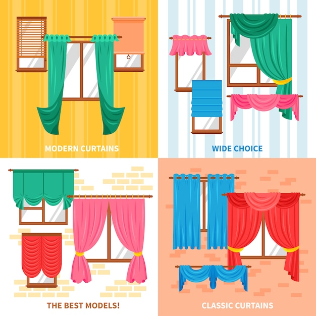 Curtains for windows design concept Free Vector