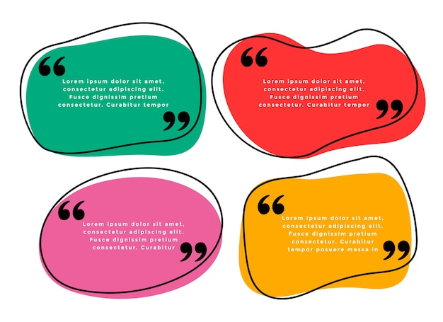 Curve shape quotes template in four colors Free Vector