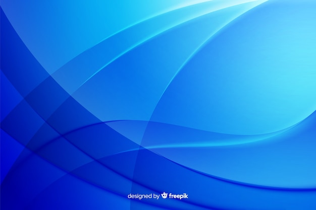 Curved abstract lines in blue shade background Free Vector