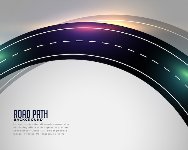 Curved asphalt road track background Free Vector