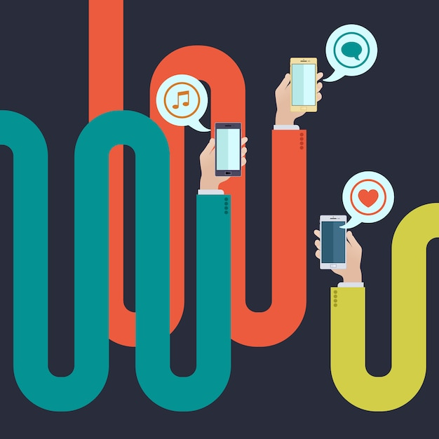 Curved long arms holding smartphones Premium Vector