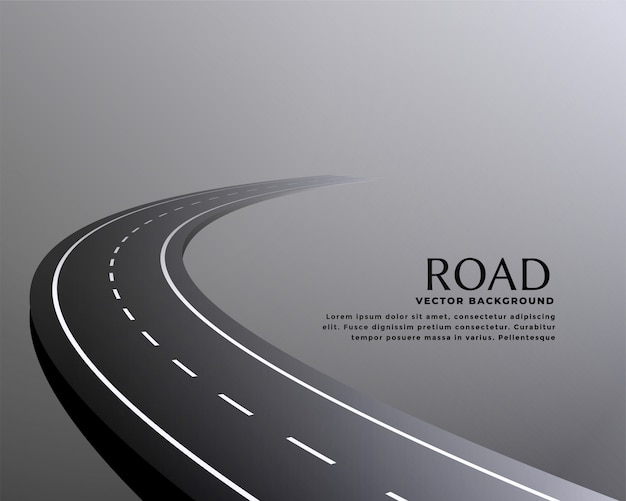 Curved perspective road pathway background Free Vector