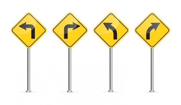 Curved road sign. Premium Vector