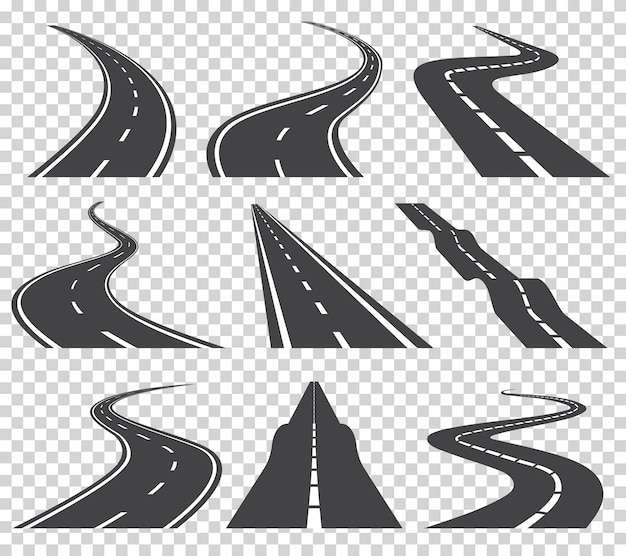 Curved roads vector set. asphalt road or way and curve road highway. winding curved road or highway with markings Premium Vector