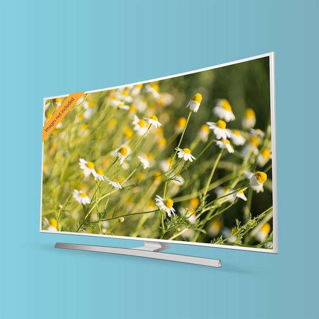 Curved smart uhd tv series isolated on blue background Premium Vector