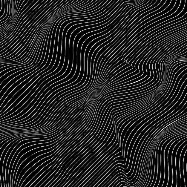 Curved white lines on black background, abstract pattern Premium Vector