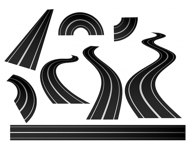 Curved winding road direction set Free Vector